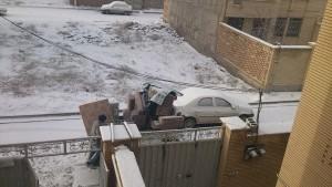 اسباب کشی در یک روز برفی